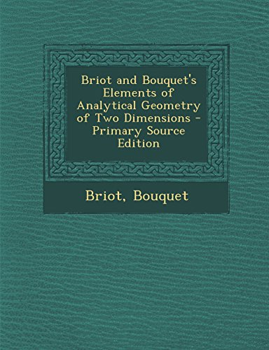 Large book cover: Elements of Analytical Geometry of Two Dimensions