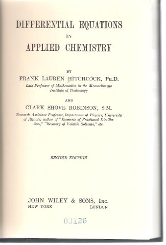 Large book cover: Differential Equations In Applied Chemistry