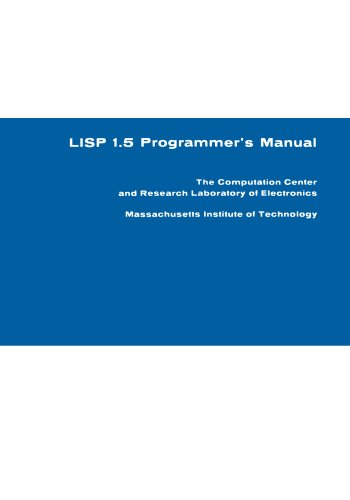 Large book cover: LISP 1.5 Programmer's Manual
