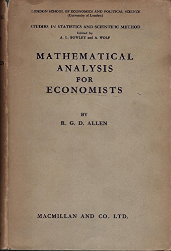 Large book cover: Mathematical Analysis for Economists