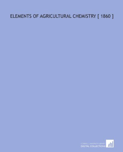 Large book cover: Elements of Agricultural Chemistry