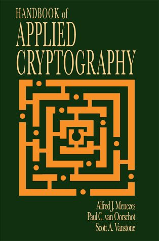 Large book cover: Handbook of Applied Cryptography