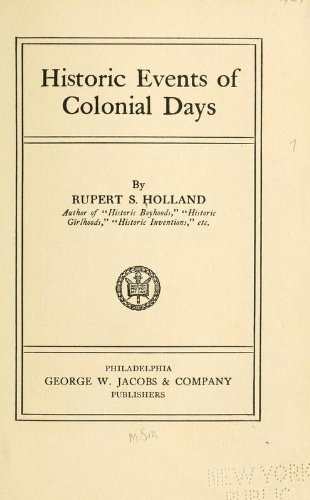 Large book cover: Historic Events of Colonial Days
