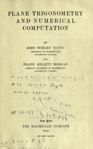 Large book cover: Plane Trigonometry and Numerical Computation